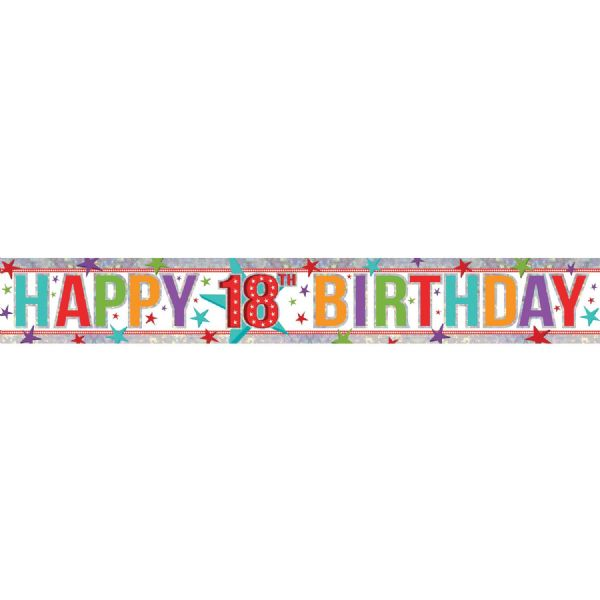 Holographic Multi Colour Happy 18th Birthday Foil Banner